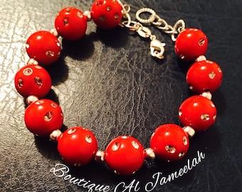 Red Rhinestone Beaded flexible bracelet