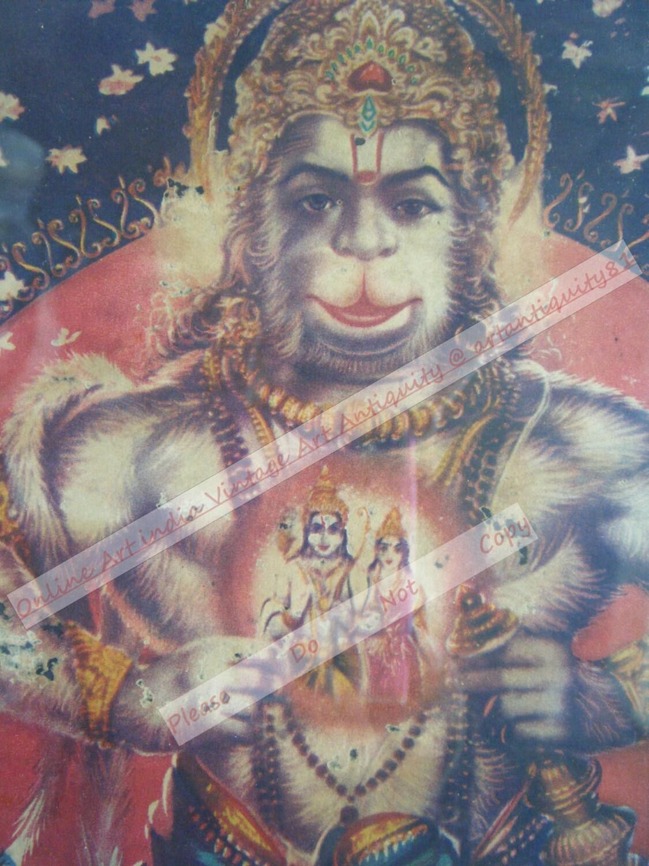 hindu god hanuman vintage old religious print in old wooden frame