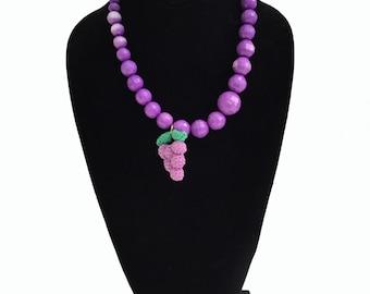 Kawaii Grape Bead Necklace