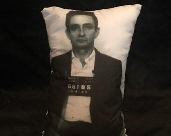 Johnny Cash mugshot pillow
