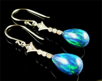 Spectacular Opal & Diamond White Gold Long Earrings