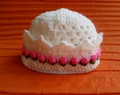 crochet baby hats, baby girl hats, flower hat , christening hats , newborn hats