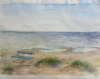 "Original Watercolor Painting ""Bench by the sea"", 32,5 x 25 cm (12 x 9 inch), 2015."