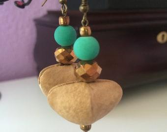 Beaded dangle earrings/ fall season jewelry