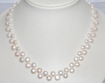 7-8mm Side Drill Button Pearl Necklace,100% Genuine Freshwater Pearl Necklace