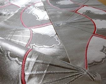 帯 Silver and the pink fan pattern  Band of a kimono