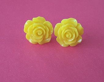 Bright Yellow Rose Studs . Earrings
