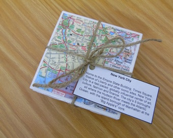 Map Coasters, New York City Tile Coasters, New York City Coasters, Tile Coasters, NY Coasters, NY Tile Coasters, Map New York Coasters