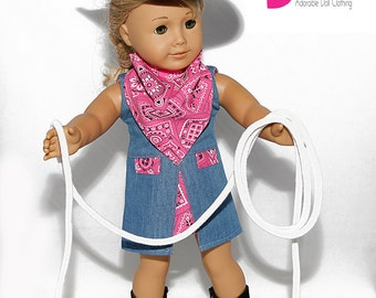 American made Girl Doll Clothes, 18 inch Doll Clothing, Black/Hot Pink Cowgirl Outfit made to fit like American girl doll clothes