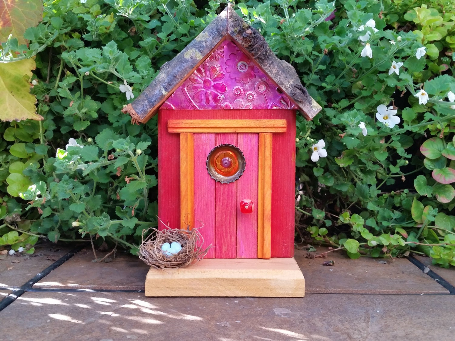 Pink fairy door with orange daisy window and fairy sized bird for Pink fairy door