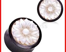 Plug Organic Sono wood with Mother of Pearl Lotus