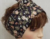 Retro hair scarf bandana, womens head scarf, headband bow, bohemian style head scarves, vintage headscarf, gift idea for women