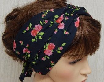 Bohemian head scarf, summer head wrap, self tie hair scarf, tie up boho headband, black floral hair wrap, retro head wrap