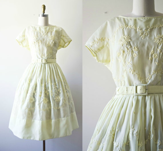 1950s sheer pin up dress 50s pastel yellow cotton sundress