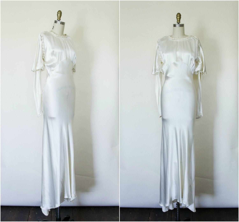 1930s silk satin wedding dress vintage 30s art deco liquid