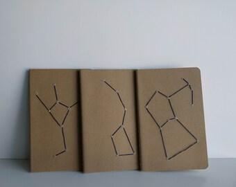 Embroidered Constellation Moleskine Notebook - Set of 3