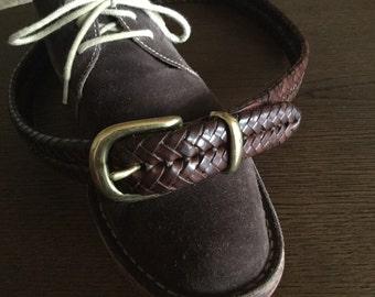 "Coach Vintage Braided tan leather belt size 30"""