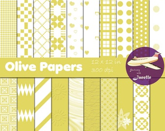 Olive Digital Papers for Scrapbooking, Card Making, Paper Crafts and Invitations