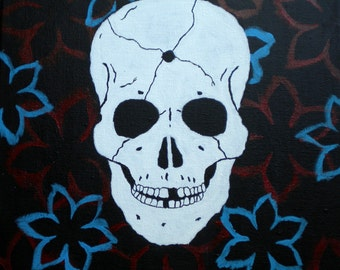Skull and flowers painting, red and blue