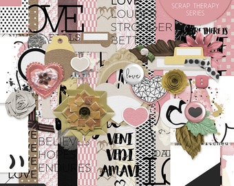 Love Bundle - Digital Scrapbooking Kit, digital papers, digital elements, INSTANT DOWNLOAD, commercial use