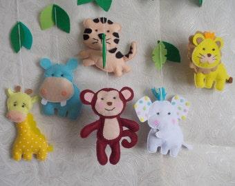 Baby crib mobile Jungle animals-Safari Animals mobile,elephant mobile,baby kit mobile,felt kit,baby bedding,baby cot mobile