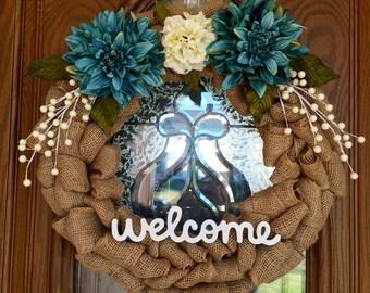 Welcome Burlap Wreath