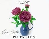 PDF PATTERN - French Beaded Peony Flowers, DIY Beading Project, Lauren's Creations, seed bead floral crafts, wire wrapping