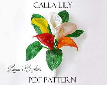 PDF Pattern - French Beaded Calla Lily Flower, DIY beading project, wire wrapping seed bead craft, Lauren's Creations patterns
