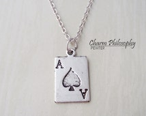 Ace of Spades Necklace - Playing Card Necklace - Gambling Jewelry - Antique Silver Necklace