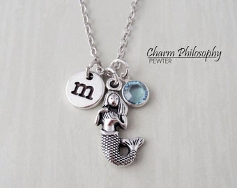 Mermaid Necklace - Monogram Personalized Initial and Birthstone - Mermaid Gifts - Antique Silver Jewelry