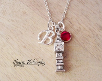 Big Ben Necklace - Clock Tower Charm - Monogram Personalized Initial and Birthstone - Palace of Westminster Jewelry