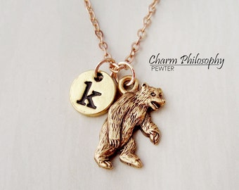Gold Bear Necklace - Brown Bear Necklace - Antique Gold Pewter Jewelry