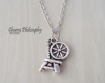 Spinning Wheel Necklace - Antique Silver Jewelry - Sleeping Beauty Inspired - Rumplestiltskin Inspired