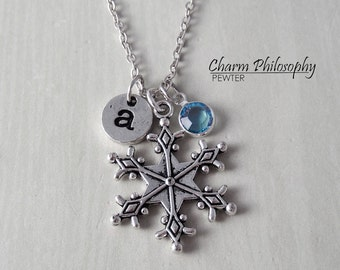 Personalized Snowflake Necklace - Antique Silver Jewelry - Monogram Personalized Initial and Birthstone