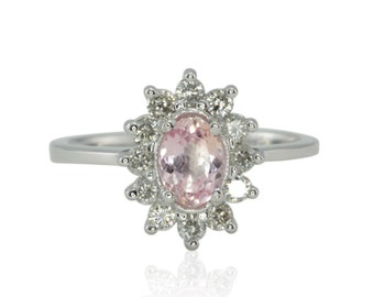 Pink Sapphire Ring - 25% off - OBO - Oval Shaped Light Pink Sapphire Ring with Diamond Flower Halo - On Clearance from Laurie Sarah - LS4460