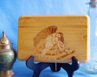 Lost angel, dark angel woodburning, angel wall art, wood art