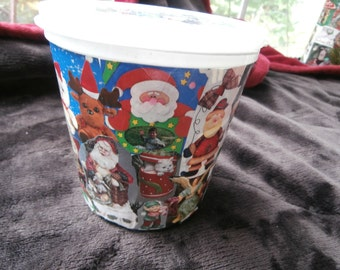 empty container,plastic container,Christmas container, modge podge, cookie container,  gift box