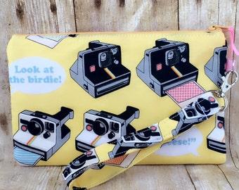 Summer sale!! Wristlet purse, zippered cellphone  wristlet with inside pocket, vintage Polaroid cameras