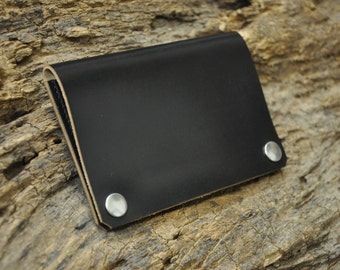 Leather Trucker Wallet Black Horween Chromexcel