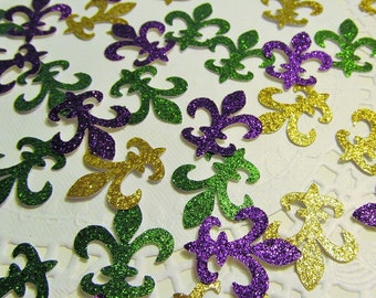 Mardi Gras Fleur de Lis die cuts- Brilliant Carnival Colors-Purple-Gold-Green Glittered - Cardmaking- Fat Tuesday - Confetti-Decor