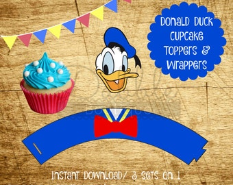 Donald Duck Cupcake Toppers & Wrappers / Donald Duck Birthday / Donald Duck Cupcake Topper  / Donald Duck Cupcake Wrapper