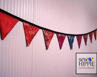 Japanese Silk Brocade Flag Bunting