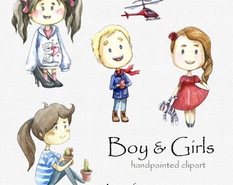 Digital clipart, clip art, watercolor children, watercolor boys and girls, cute illustration, digital scrapbook, Children clipart