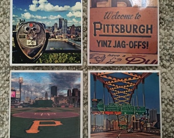 Handmade 4x4 Tile Coasters - Pittsburgh Set 1