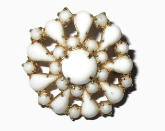 Flower Brooch, Vintage White Milk Glass Pin, Gold Tone,  Mid Century Jewelry, 1950s-1960s, Floral, Boho