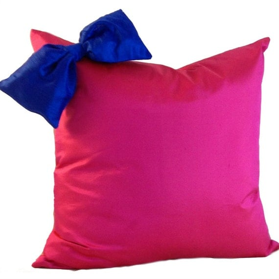 Pink and Blue Pillow Cover in SILK Pillow with Bow Silk