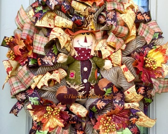 RESERVED for Leanne, Scarecrow wreath, fall wreath