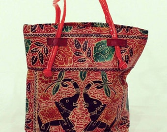 Handpainted leather tote bag