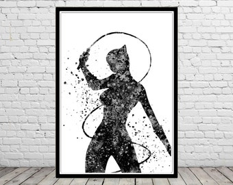 Catwoman inspired, Catwoman Print, Print, Marvel, Superhero,Watercolor Art,Kids Room Decor, Poster, Superhero(347b)
