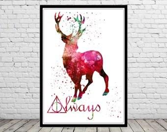 Harry Potter, Stag Patronus, Red deer, watercolor print, (1100b)